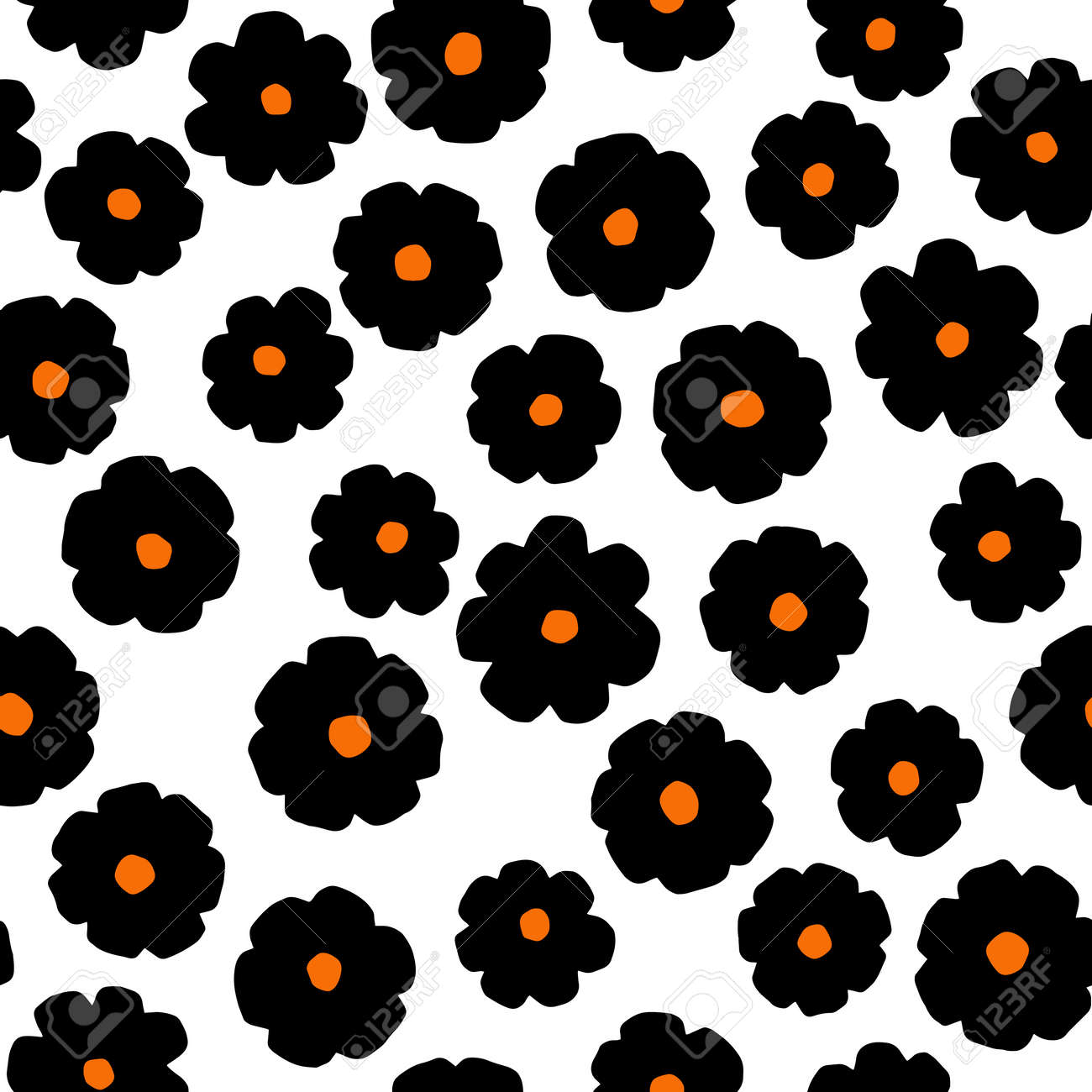 Black flowers on white background. Vector minimalistic seamless pattern - 172106740