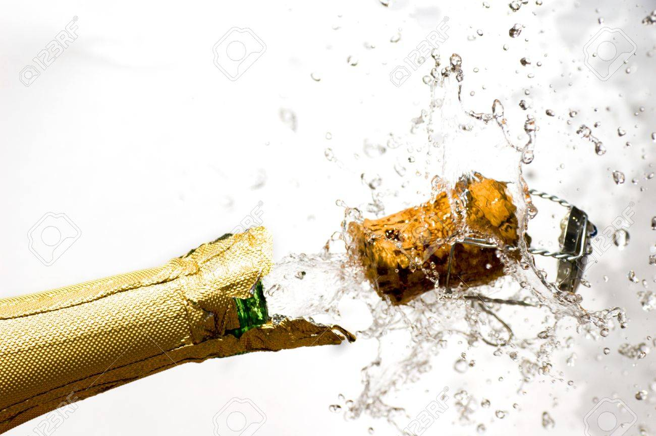 Close-up of explosion of champagne bottle cork Stock Photo - 4369611
