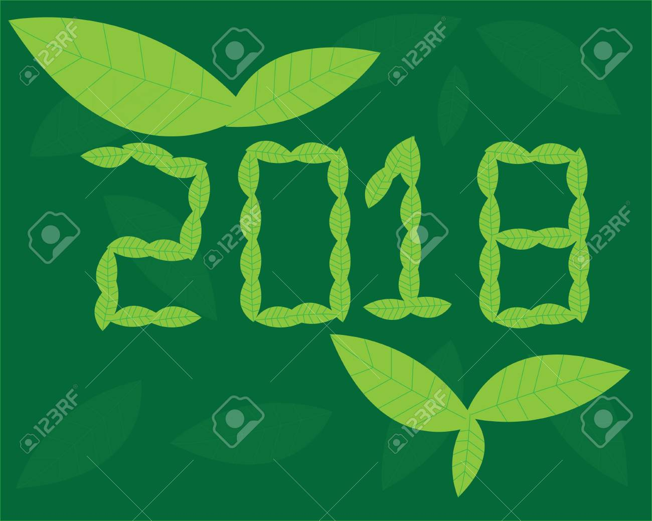 happy new year 2018 on green background stock vector 88030898