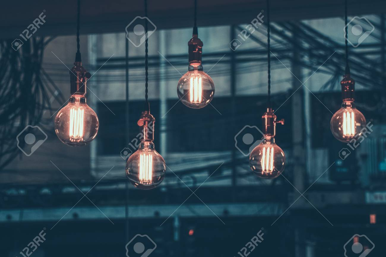 Decoration antique edison led light style filament light bulbs , graphic of wire background, color Vintage style,Thailand Standard-Bild - 82097443