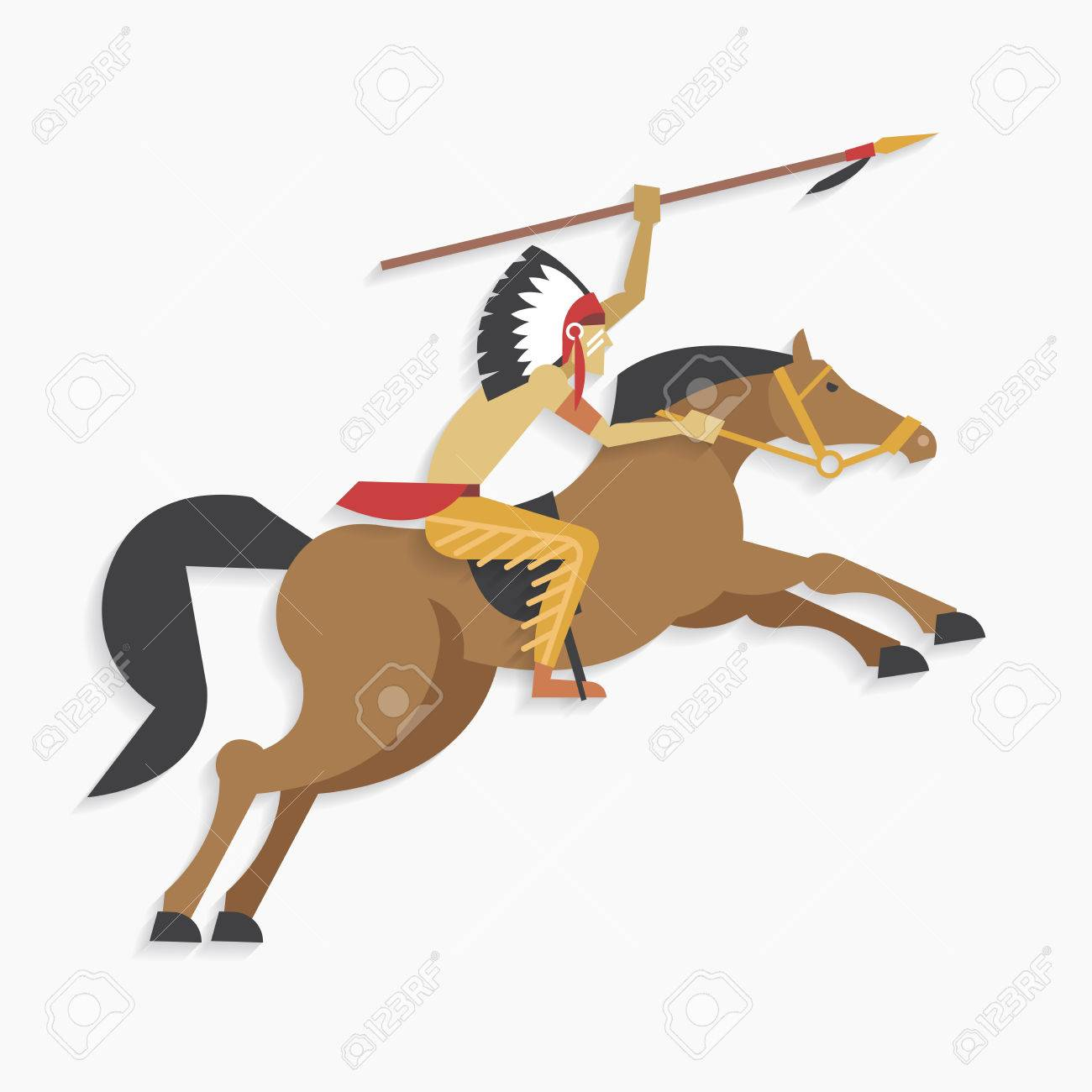 Native American Indian Chief With Spear Riding Horse Royalty Free Cliparts Vectors And Stock Illustration Image 37056157