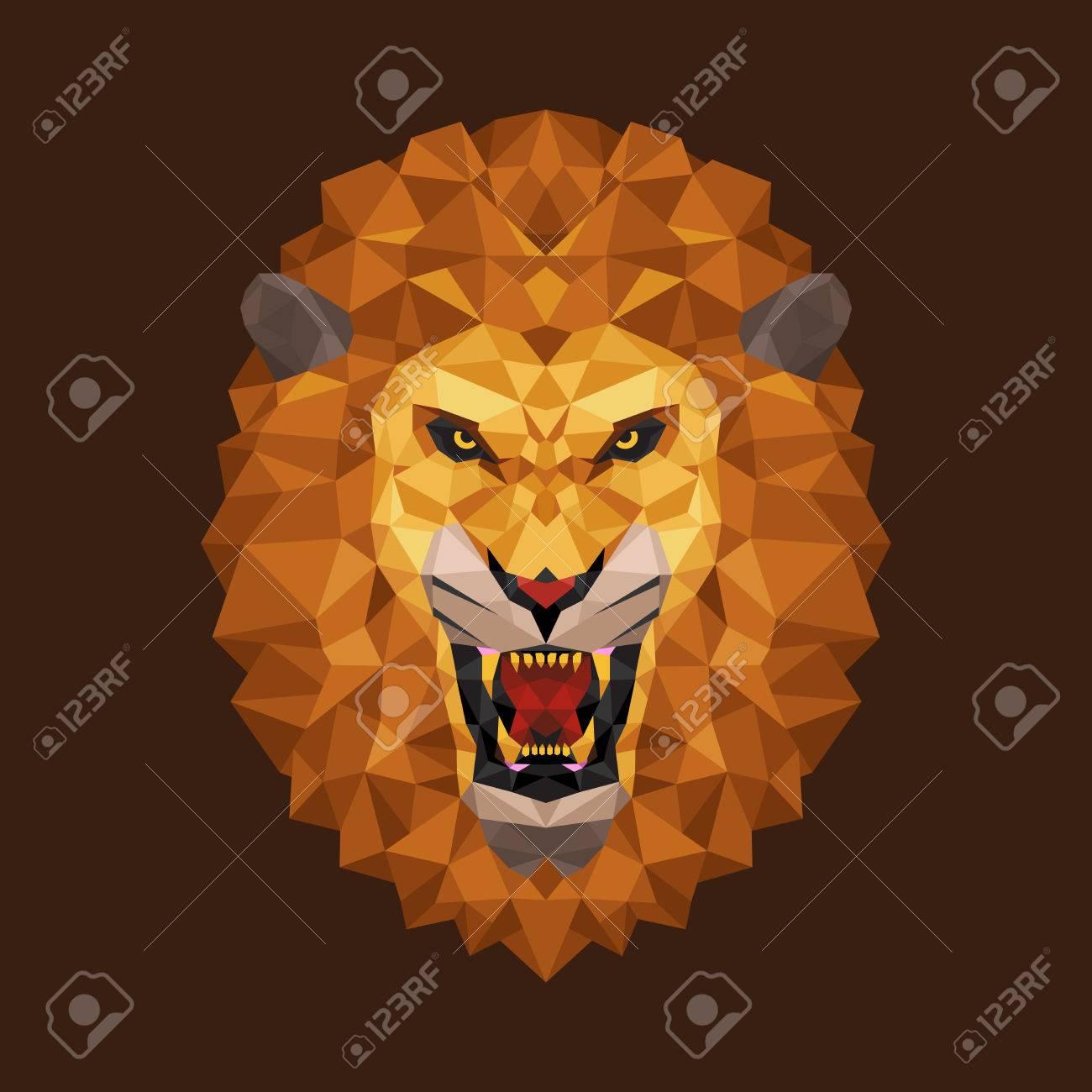 Tête De Lion Polygone Géométrique Vector Illustration Clip Art