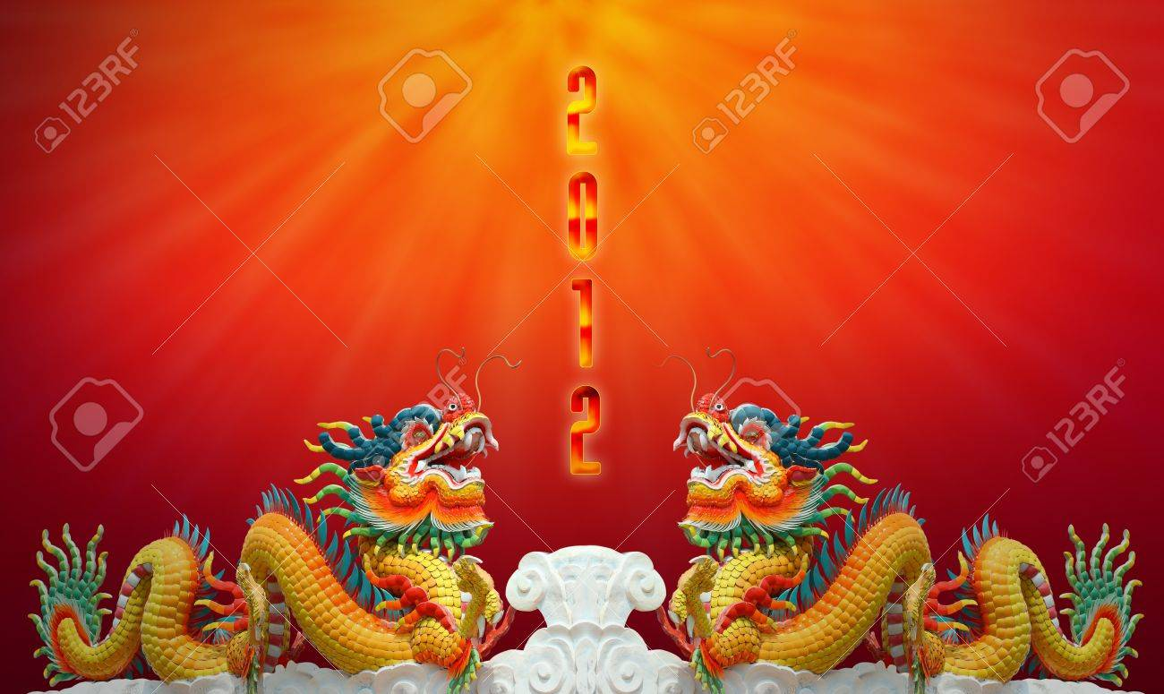 Chinese dragon statue with happy new year 2012 background Stock Photo - 11065781