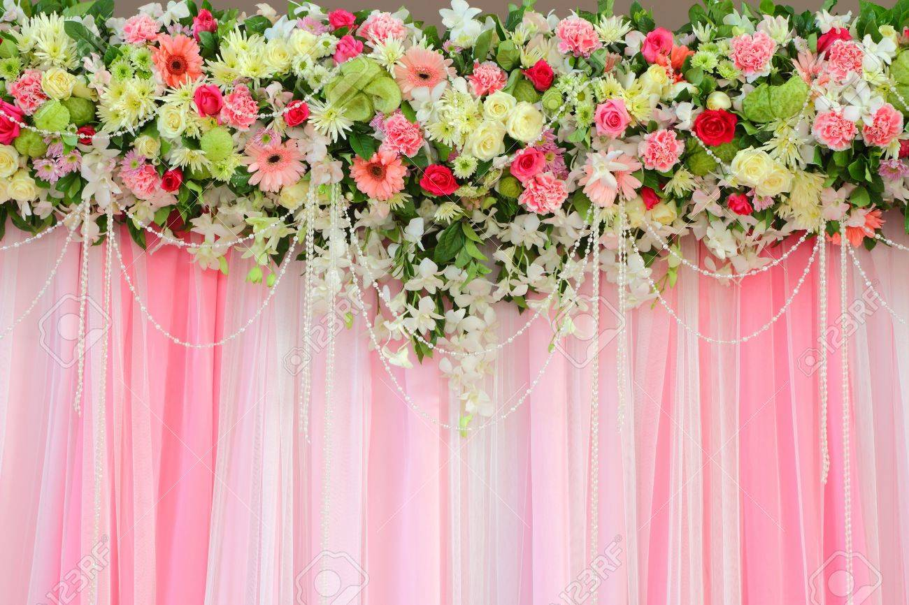 Flowers arrangement over pink and white fabric flowers background flowers arrangement over pink and white fabric flowers background stock photo 12431561 mightylinksfo