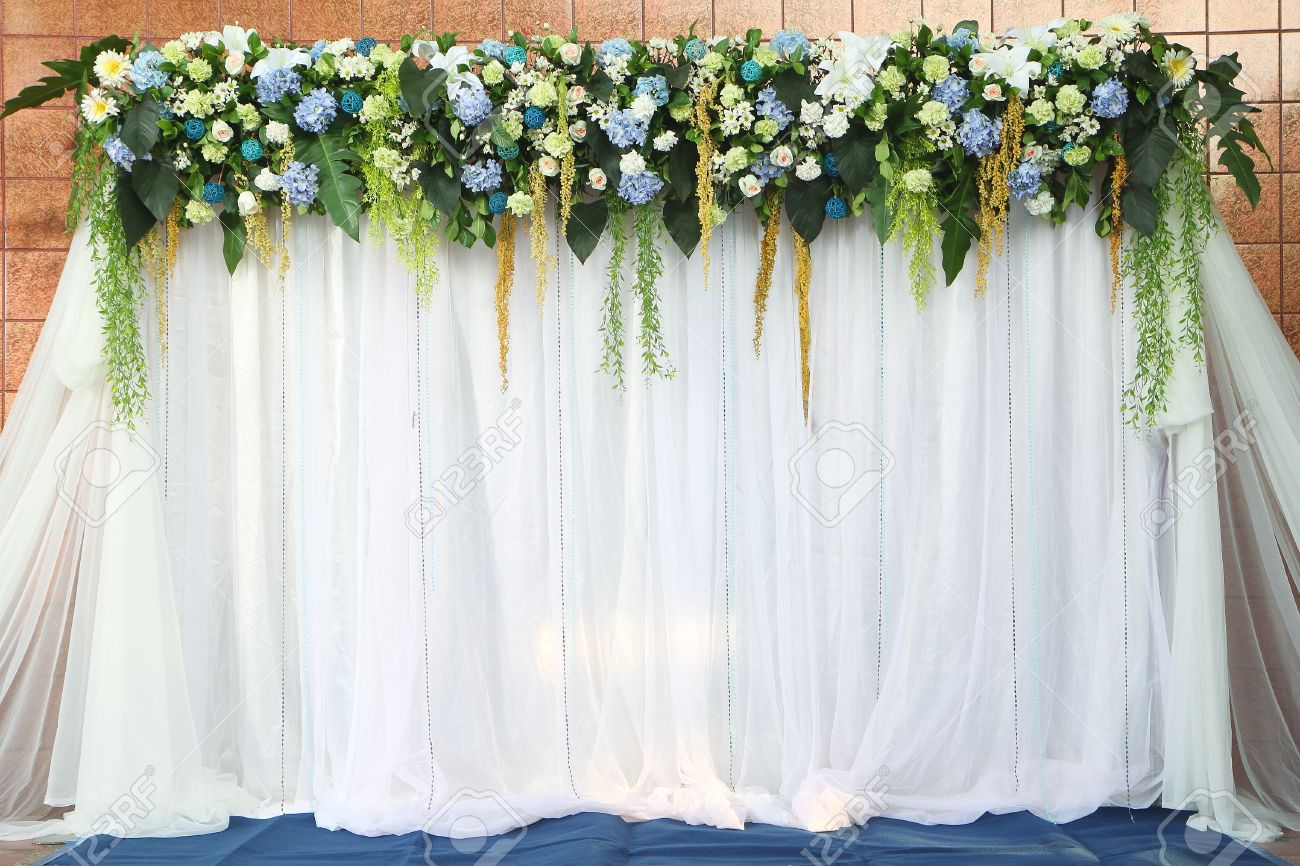 Beautiful Backdrop Flowers Over White Fabric Ready For Wedding