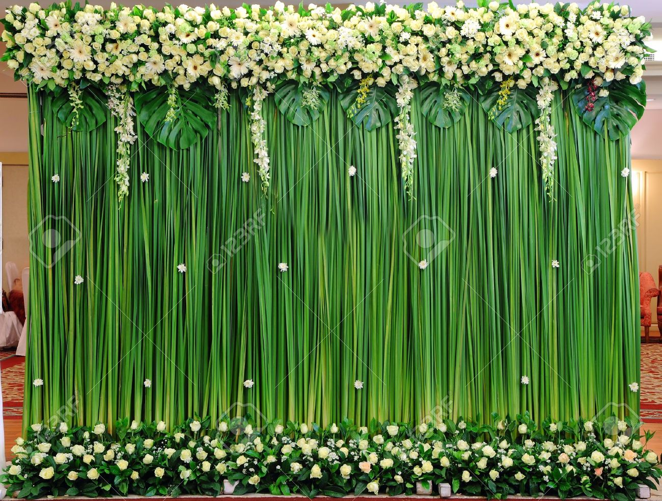 Green backdrop flowers arrangement for wedding ceremony Stock Photo - 12806424