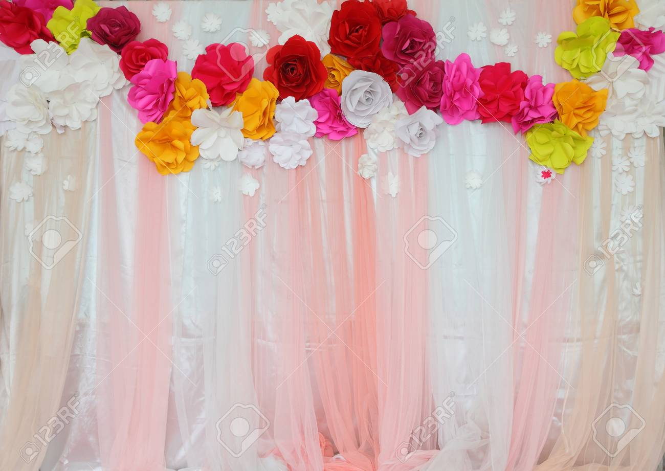 Colorful Backdrop Paper Flower With Fabric Arrangement By Handmade