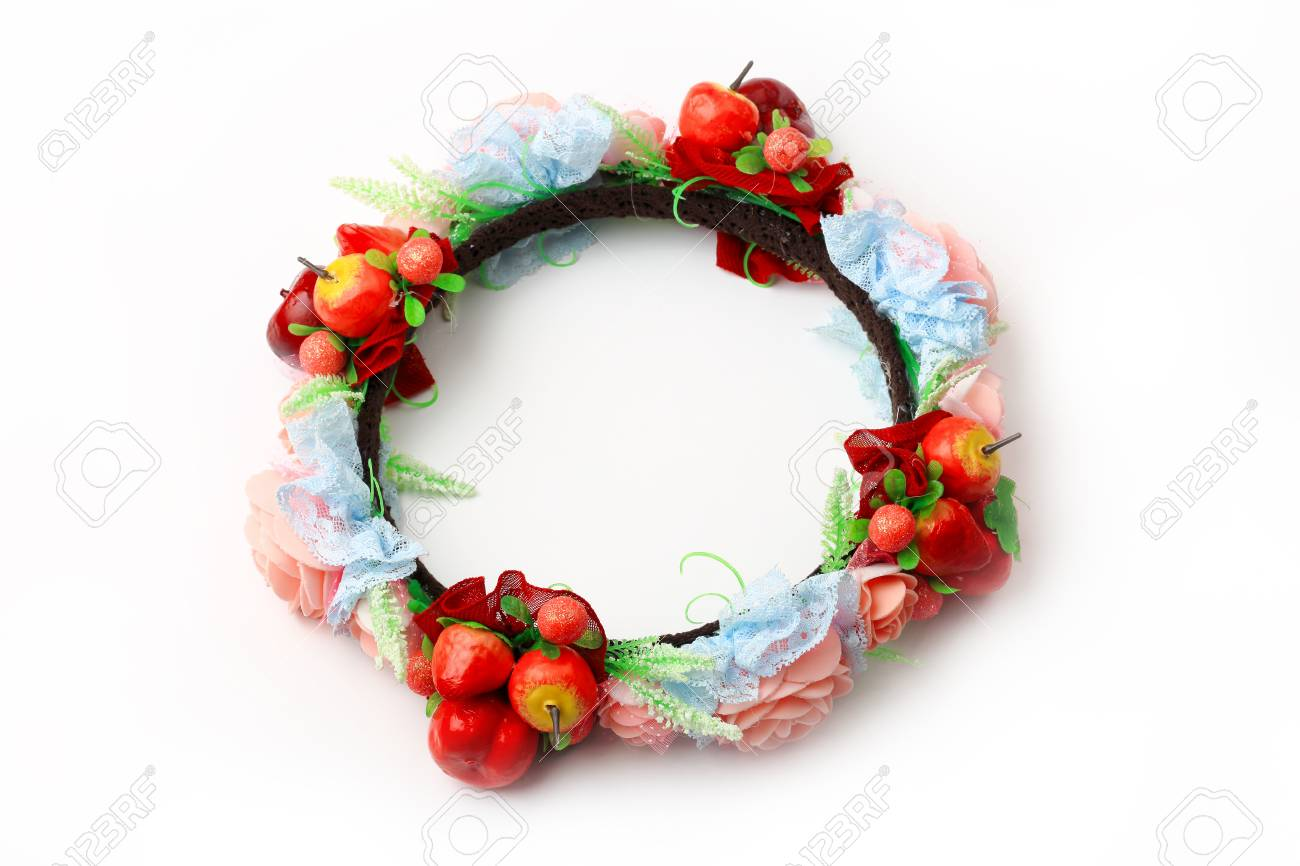 Top view of colorful fake flower crown or forest coronal isolated stock photo top view of colorful fake flower crown or forest coronal isolated on white background izmirmasajfo