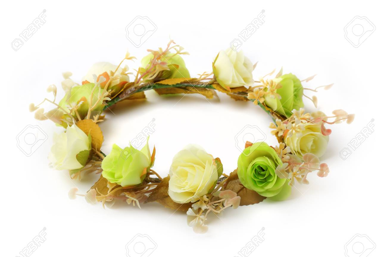 Green and white of fake flower crown or forest coronal isolated green and white of fake flower crown or forest coronal isolated on white background stock izmirmasajfo