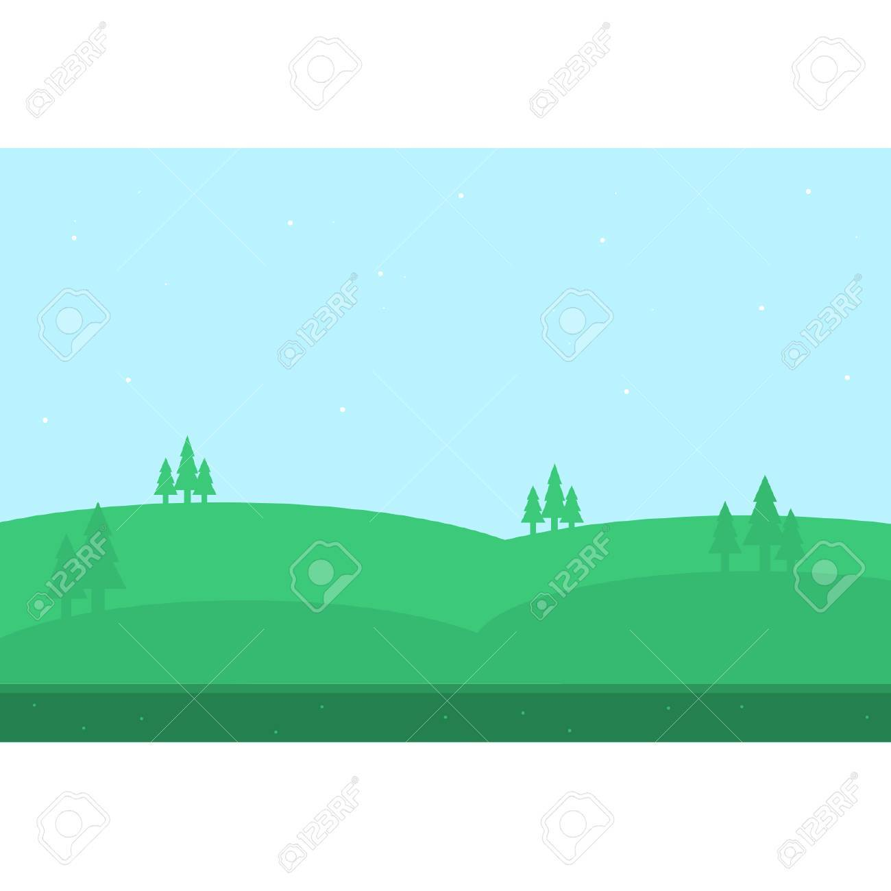 beautiful hill of silhouettes for game backgrounds royalty free