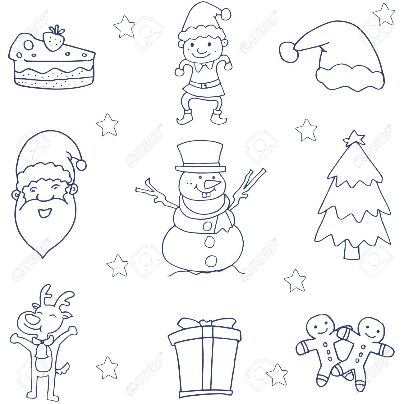 Flat Hand Draw Christmas Of Doodle Art Royalty Free Cliparts
