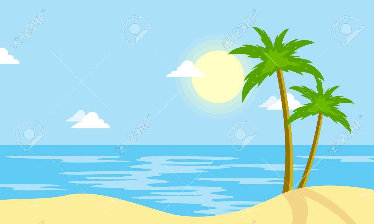 Landscape of beach with sun cartoon vector illustration - 67721624