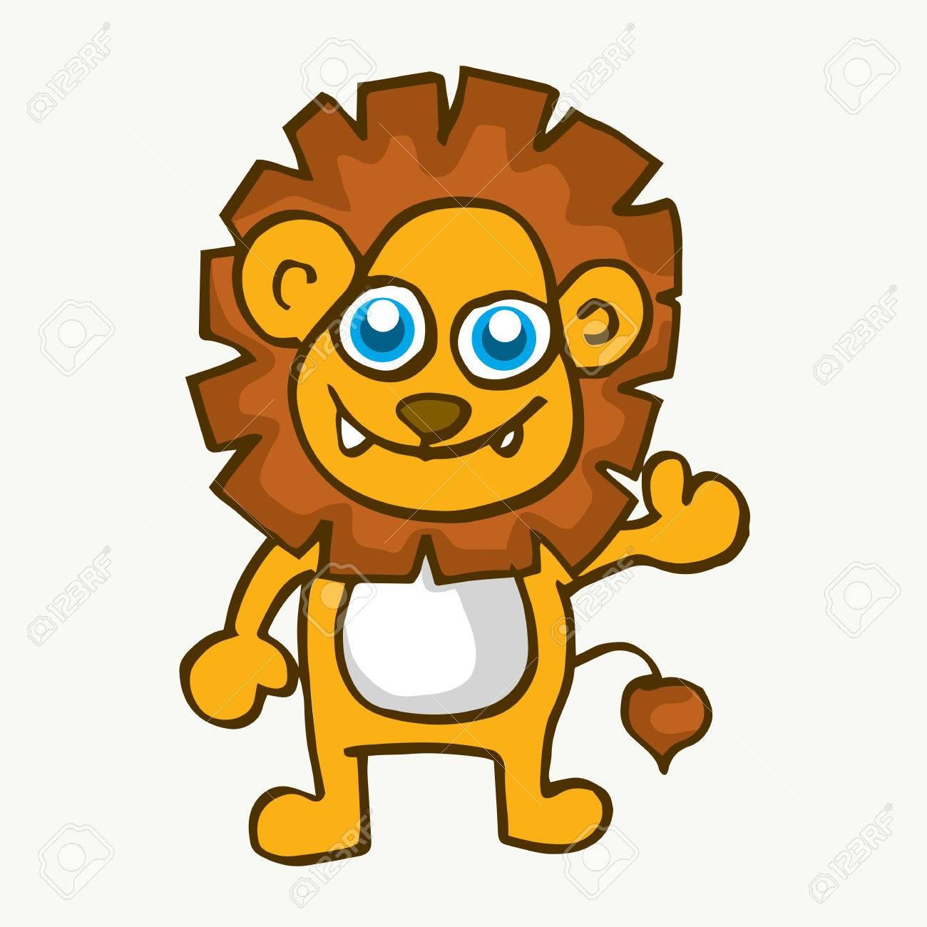 Vecteur De Dessin Animé Mignon Bébé De Lion Pour Les Enfants Clip