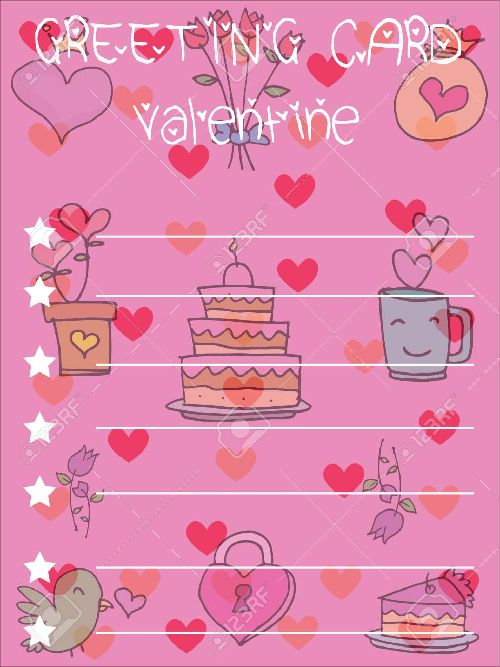 Illustration Valentine Greeting Card Backgrounds Vector Art Royalty