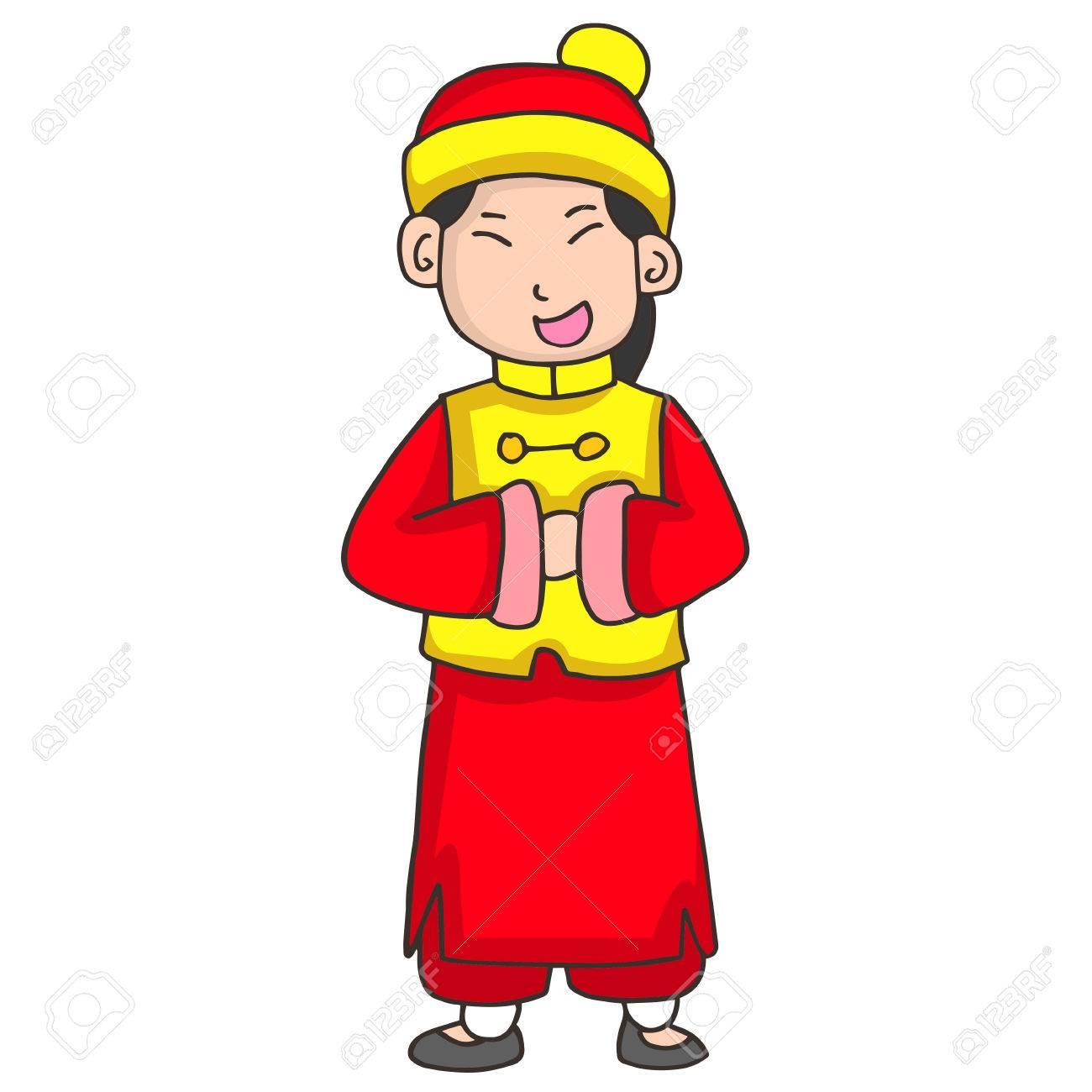 Charakter Des Mädchens Gruß Chinesischen Neujahr Vektor Lizenzfrei ...