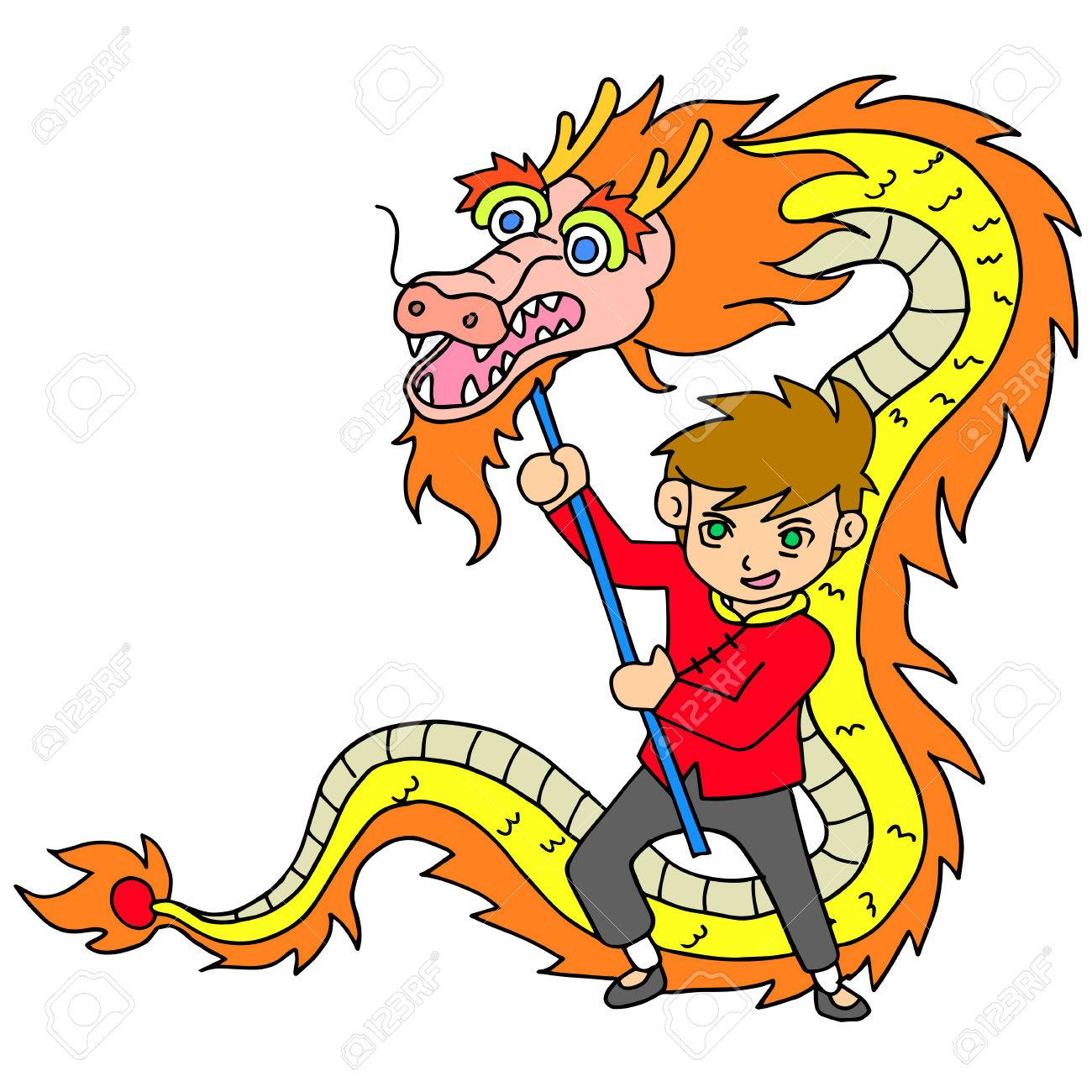 chinese new year celebration with dragon dance stock vector 68547217