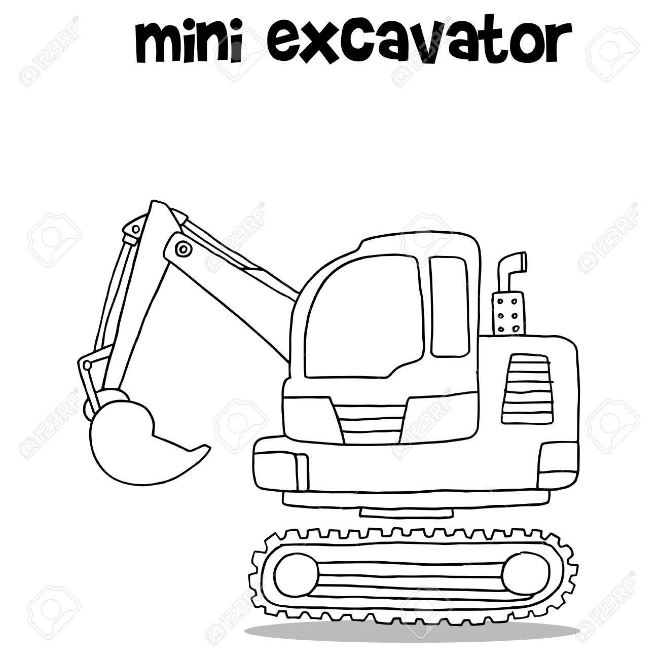 Hand Draw Of Mini Excavator Royalty Free Cliparts, Vectors