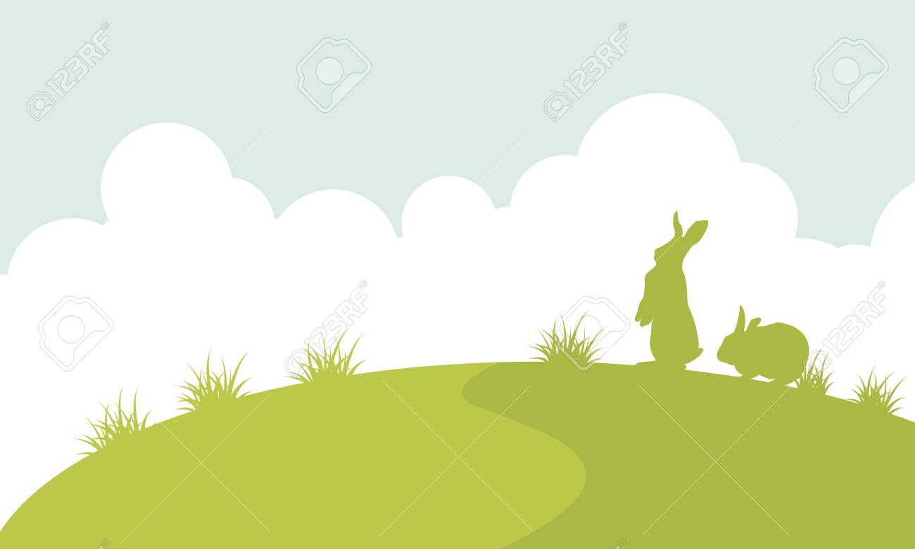 landscape of easter bunny silhouette royalty free cliparts vectors