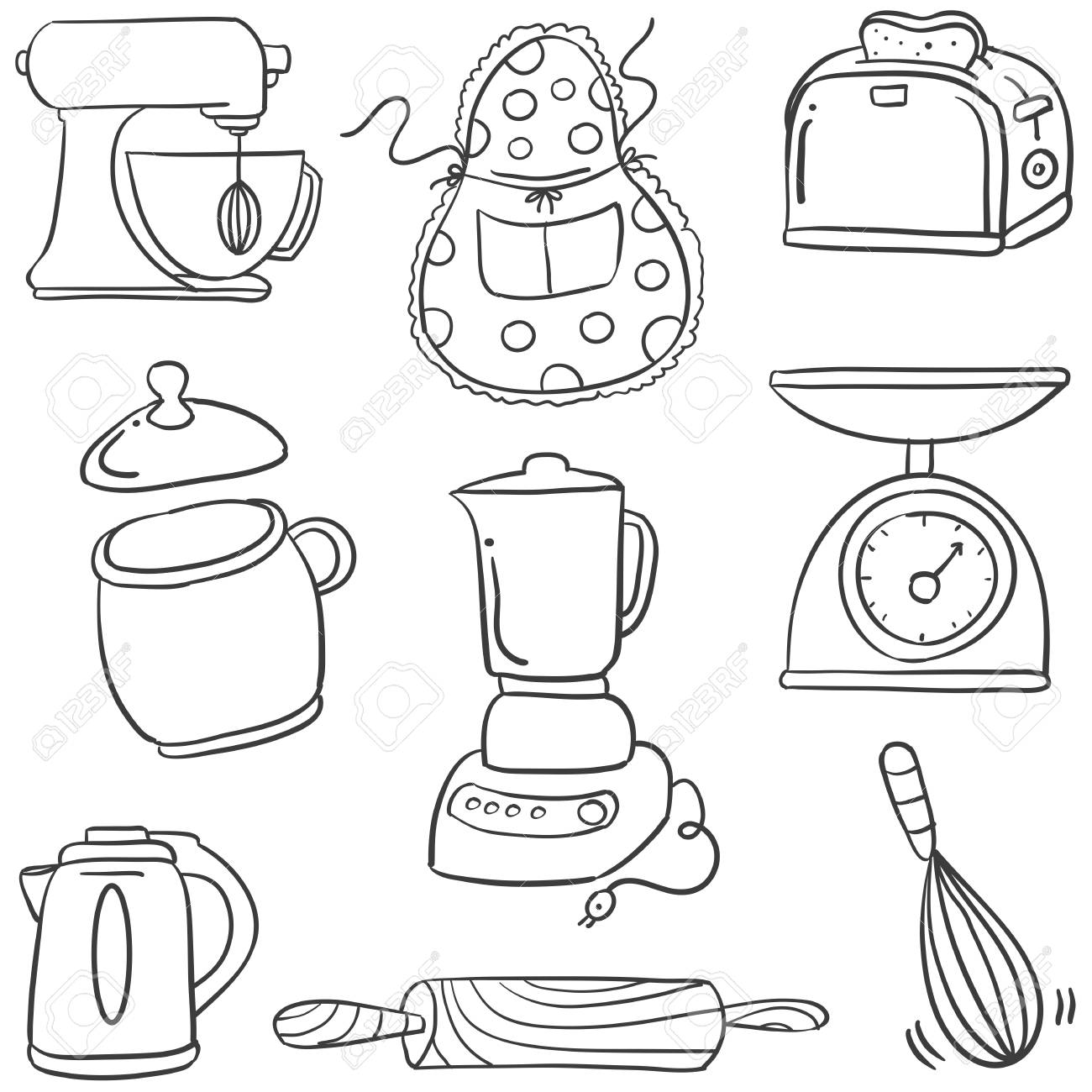 Doodle Of Cool Kitchen Set Hand Draw Royalty Free Cliparts Vectors