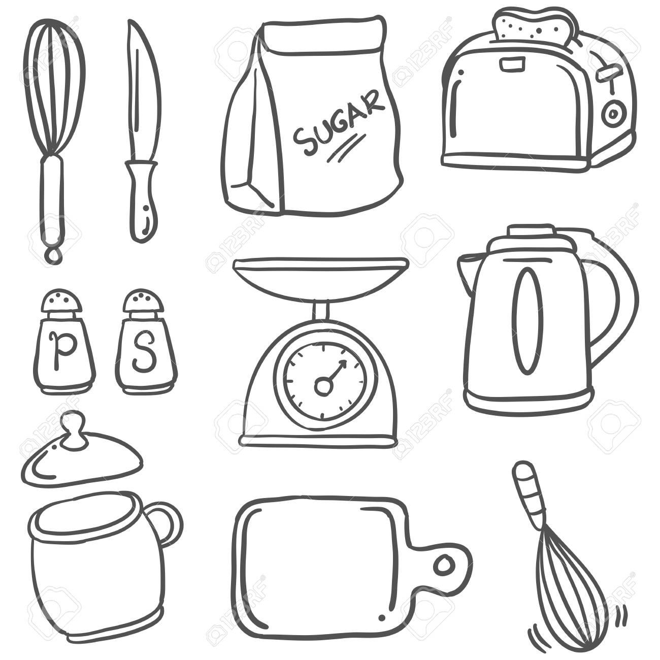 Sketched Illustration Of A Hand Draw Kitchen Set Doodles Royalty
