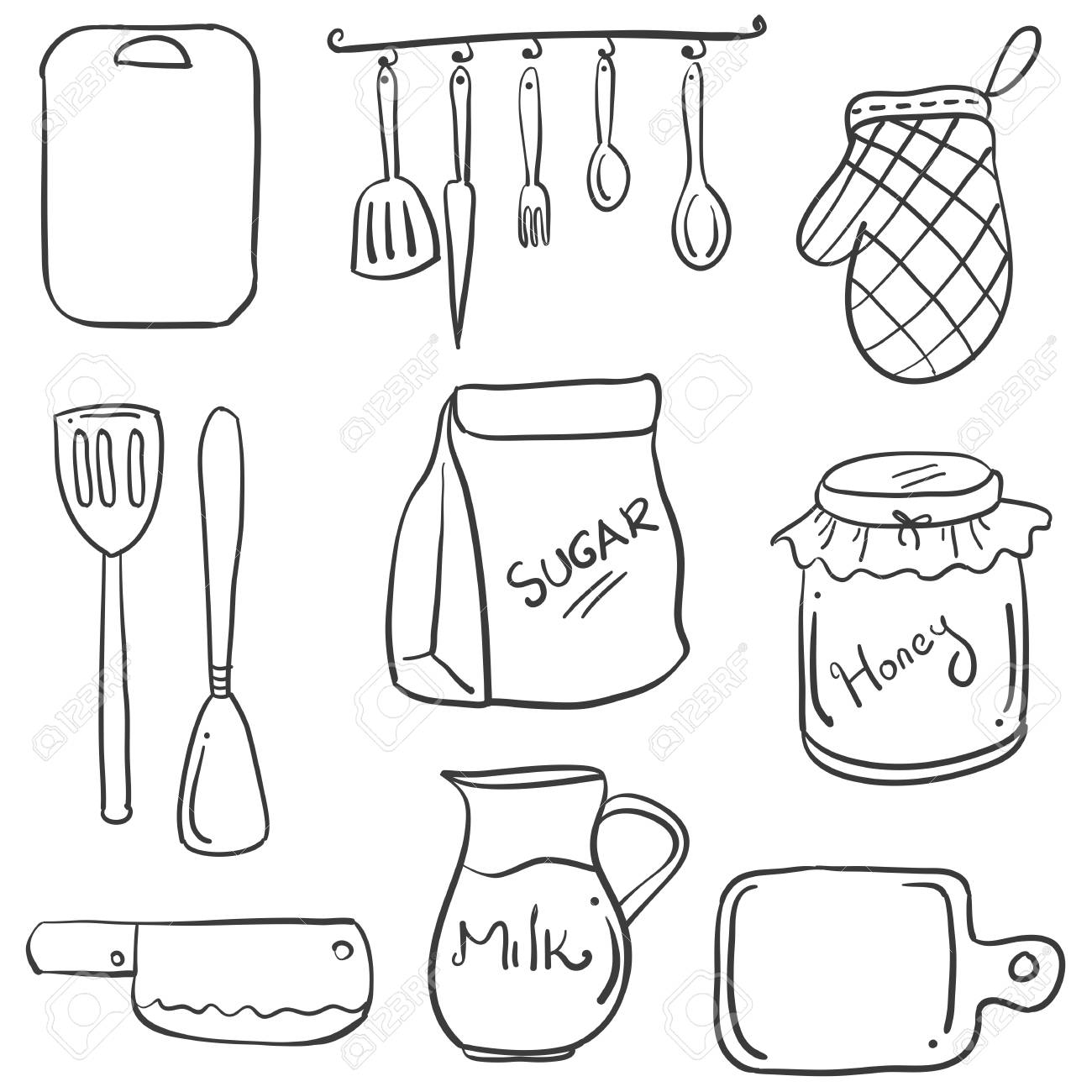 Hand Draw Of Kitchen Set Doodles Royalty Free Cliparts Vectors And