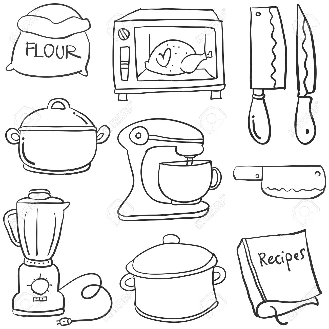 Kitchen Set Hand Draw Cartoon Doodles Vector Art Royalty Free