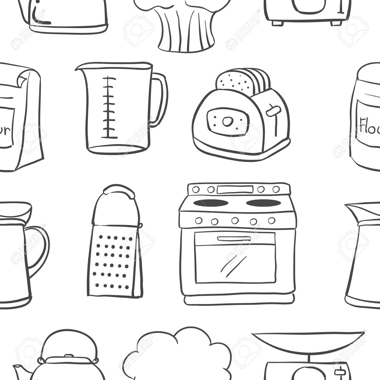 Hand Draw Kitchen Object Doodle Style Royalty Free Cliparts Vectors