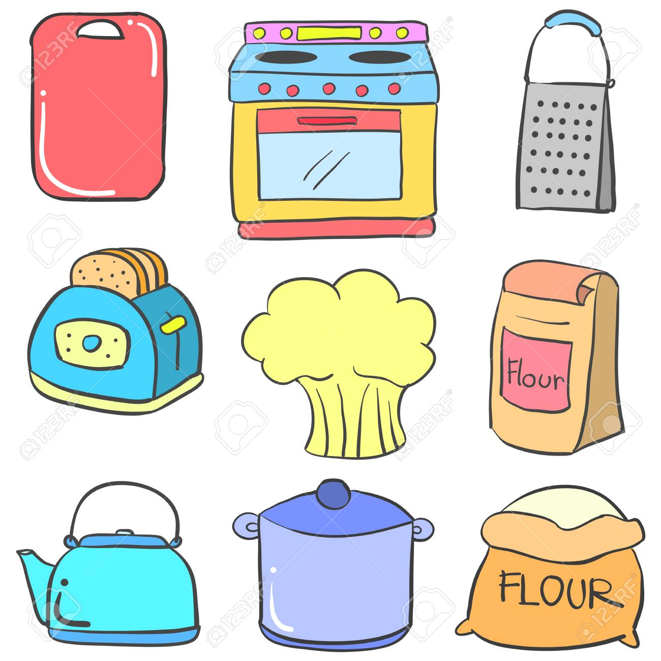 Doodle Of Kitchen Set Style Vector Art Royalty Free Cliparts