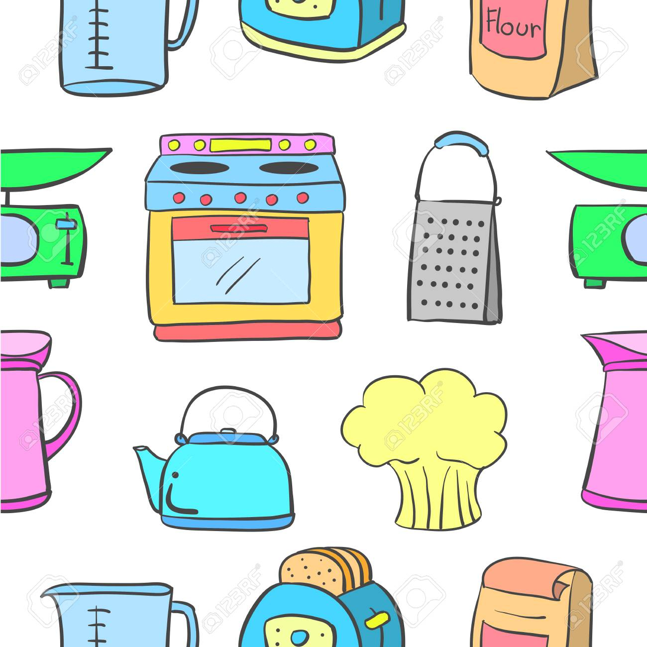 Doodle Of Kitchen Set Pattern Style Royalty Free Cliparts Vectors