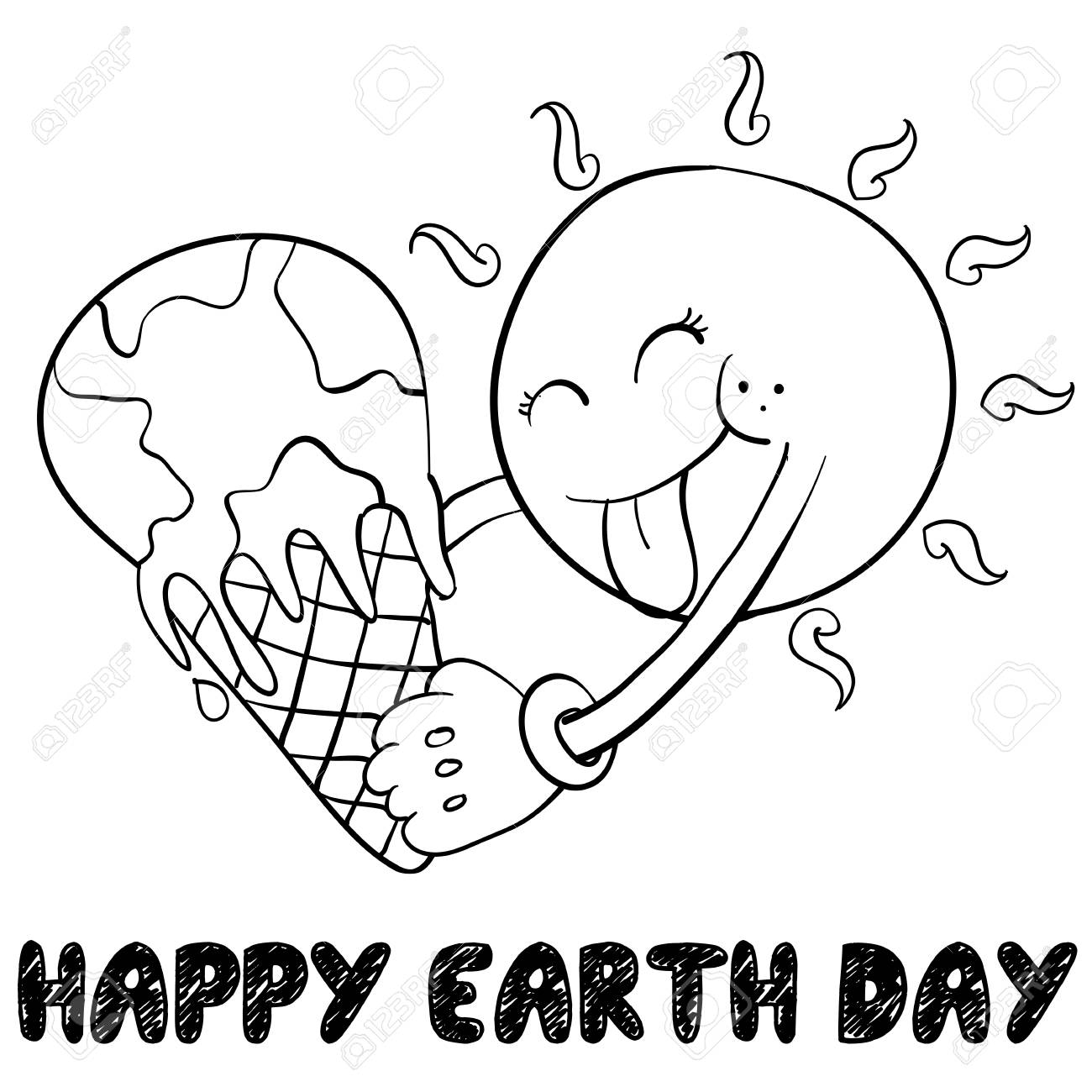 Happy Earth Day Style Hand Draw Vector Art