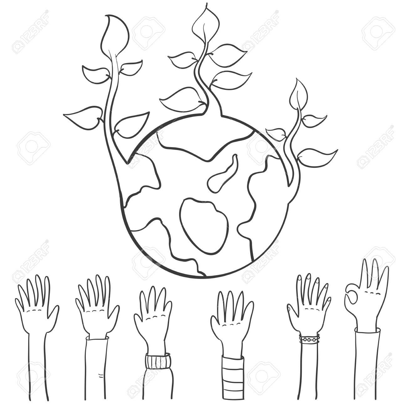 World Hand Draw Earth Day Vector Illustration