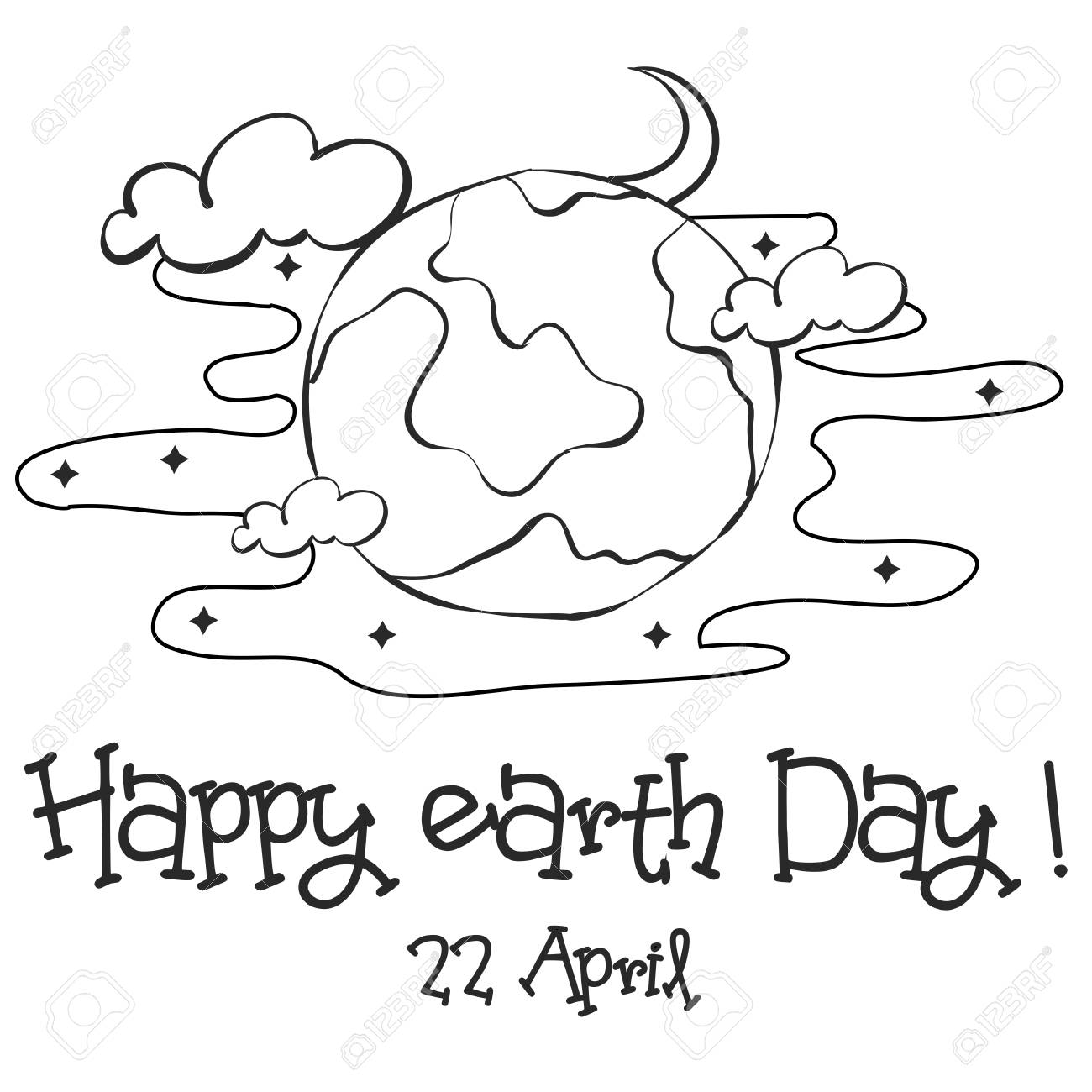 Happy Earth Day Sketch Hand Draw