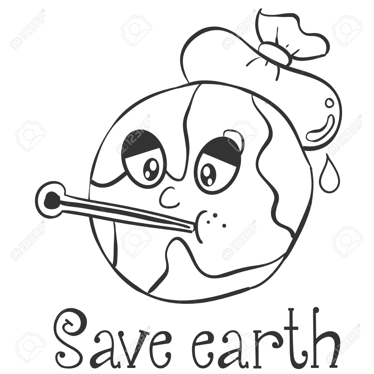 Hand draw save earth design