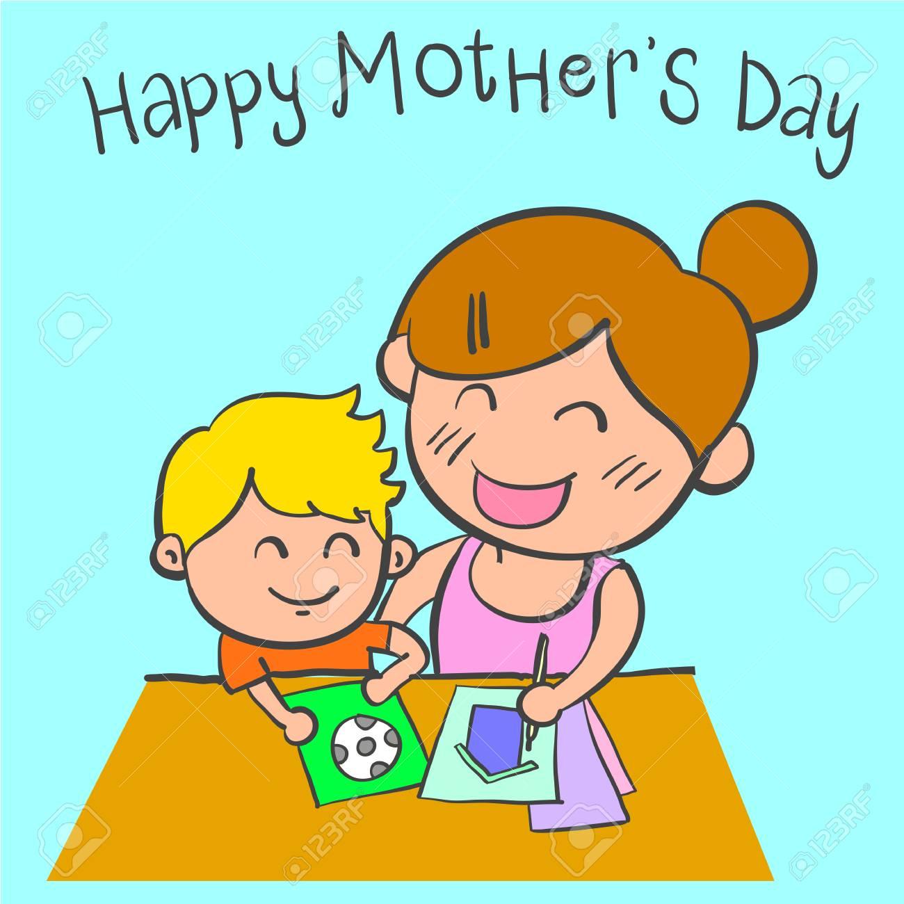 Arte De Vector De Diseño De Dibujos Animados Feliz Día De La Madre