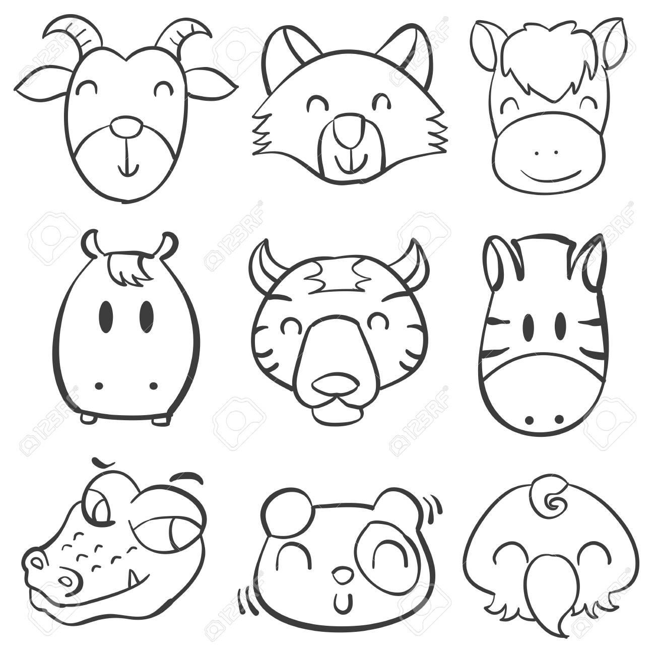 Collection Tete De La Main Des Animaux Dessiner Illustration Doodle Clip Art Libres De Droits Vecteurs Et Illustration Image 77773646