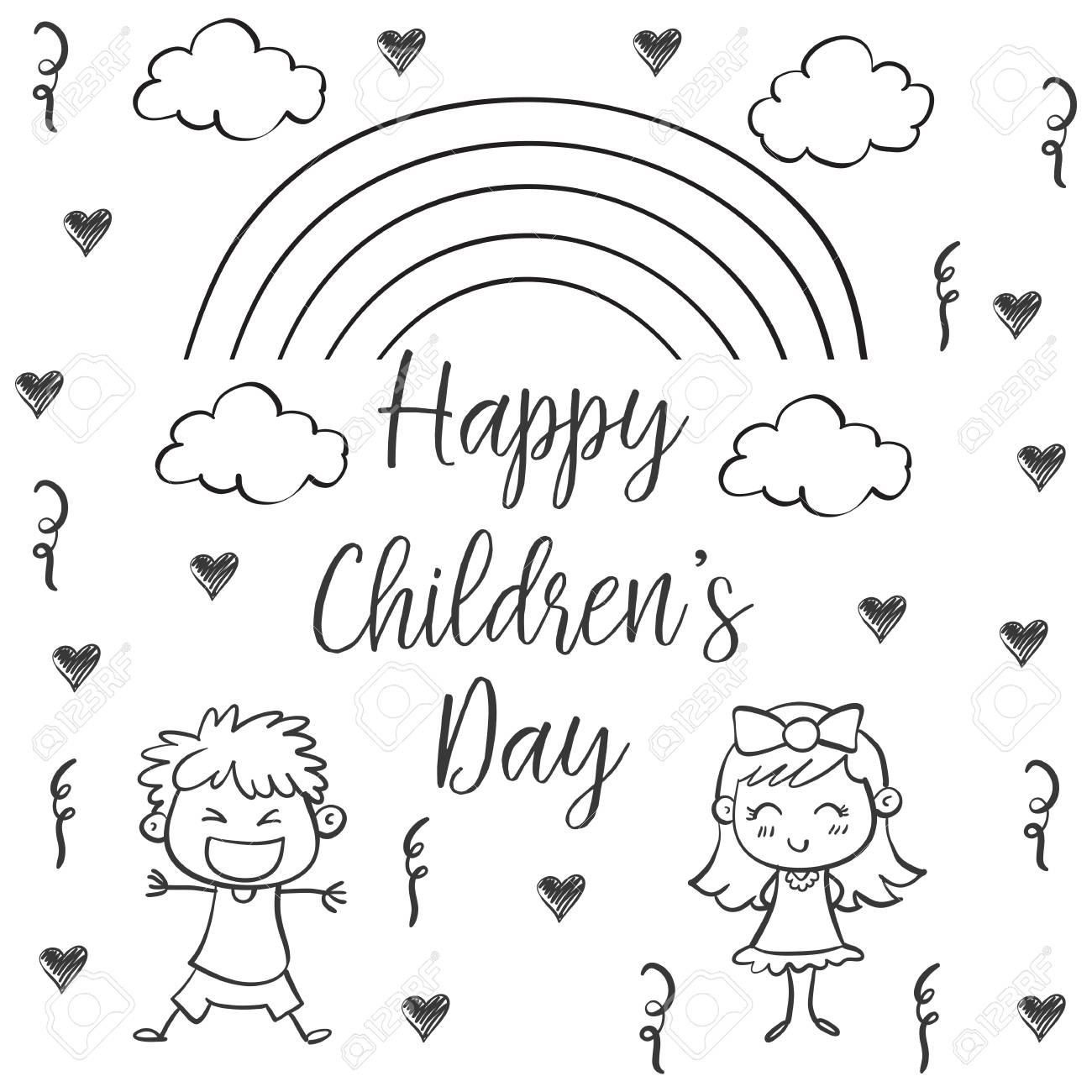 Happy Children's Day Poster With Kids In Sky Illustration. Royalty Free  Cliparts, Vectors, And Stock Illustration. Image 87919361.