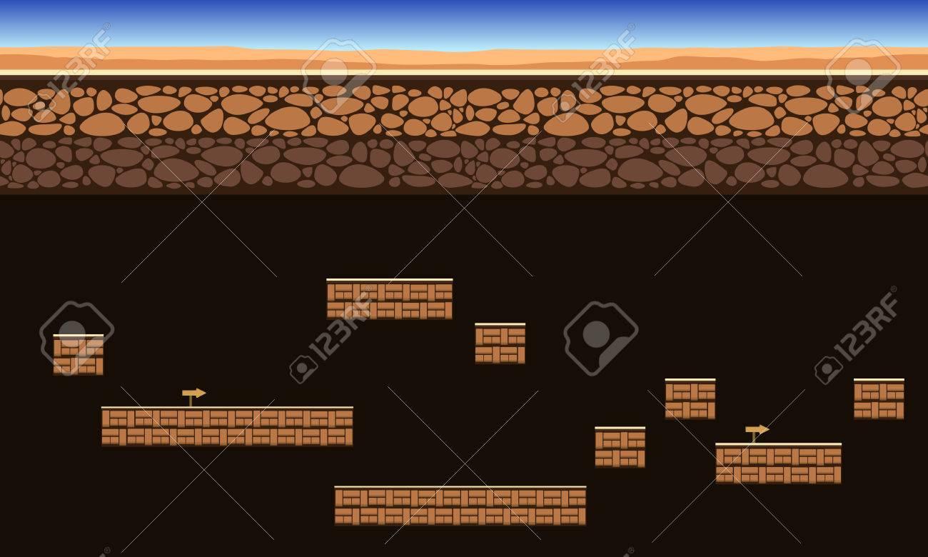 グランド スタイル ベクトル イラストをゲームの背景 ロイヤリティフリー