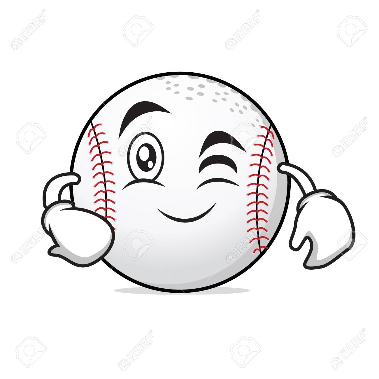 Personnage De Dessin Anime De Baseball Visage Clin D Oeil Clip Art Libres De Droits Vecteurs Et Illustration Image 80317008