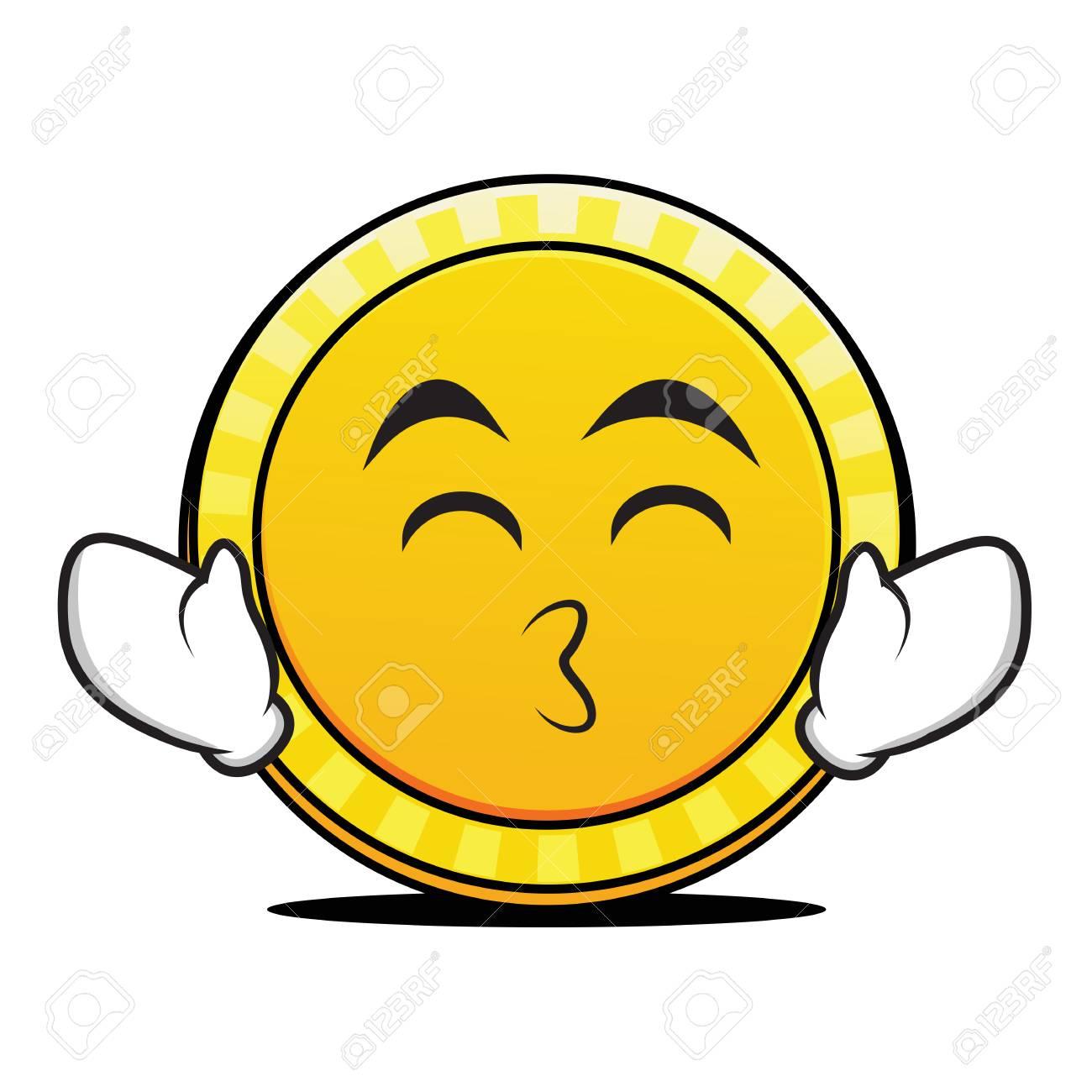 Küssen Lächeln Augen Münze Charakter Lizenzfrei Nutzbare