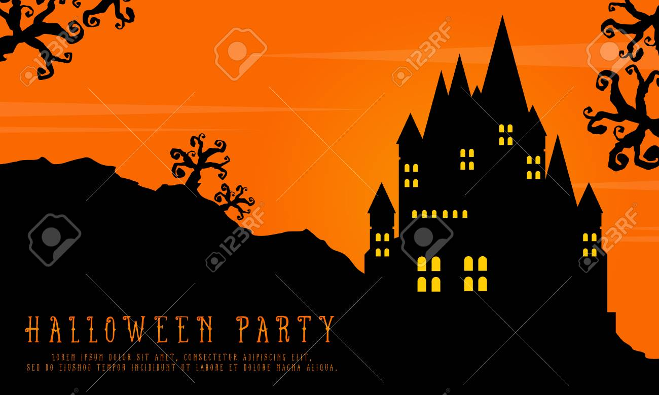 Halloween with scary castle landscape background vector art.