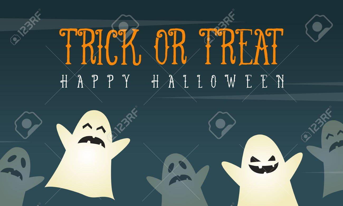 halloween background card with funny ghost vector illustration