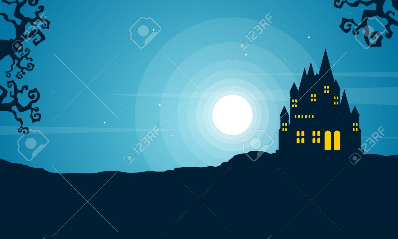 Halloween with scary castle landscape vector illustration - 81797498