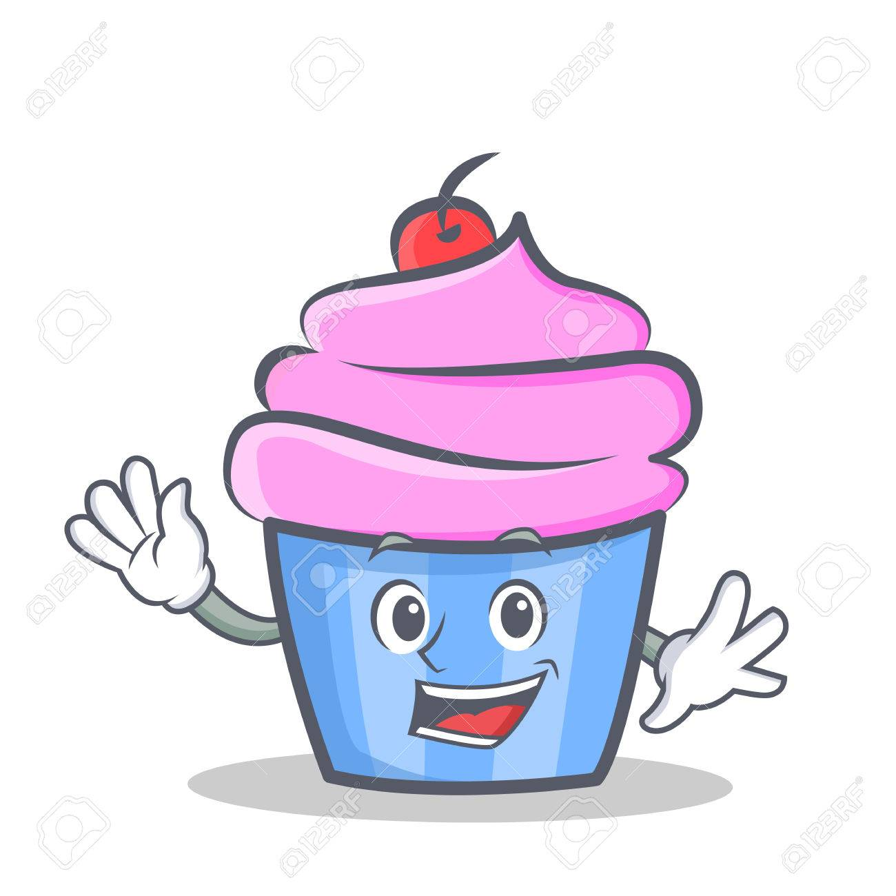 Waving cupcake character cartoon style vector illustration - 82892836