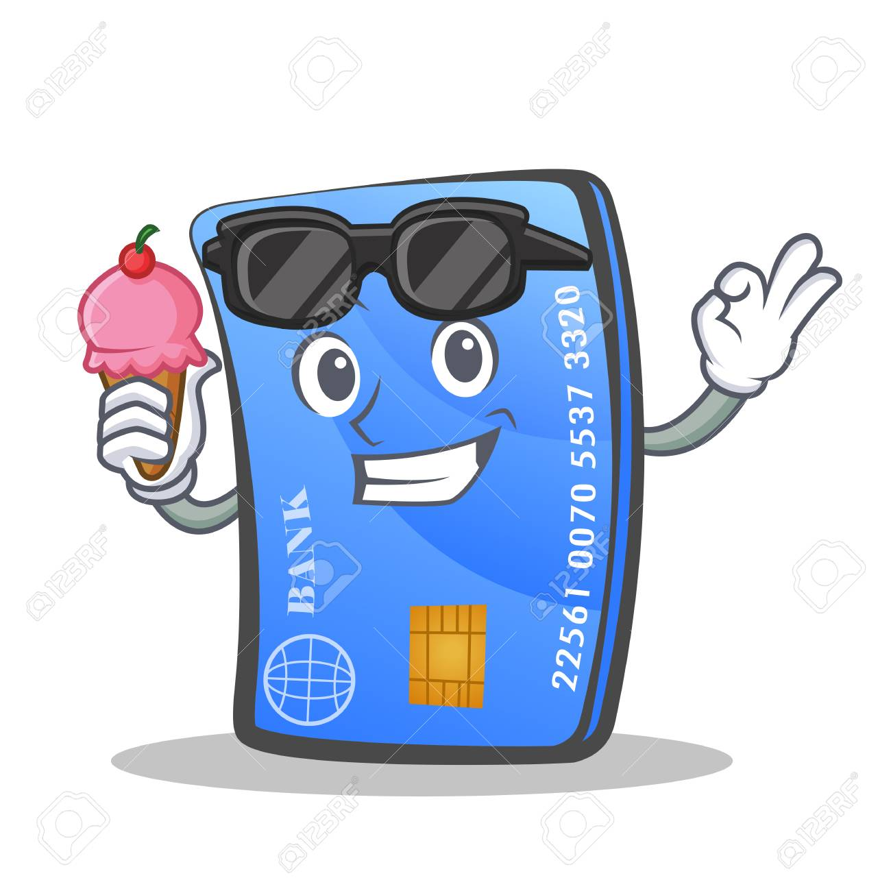 credit card character cartoon with ice cream royalty free cliparts