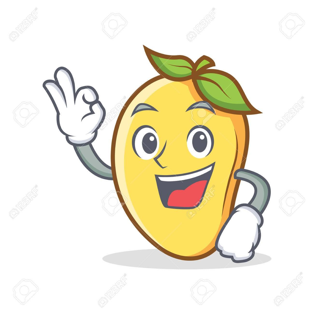 Mango cartoon character with okay sign mascot.