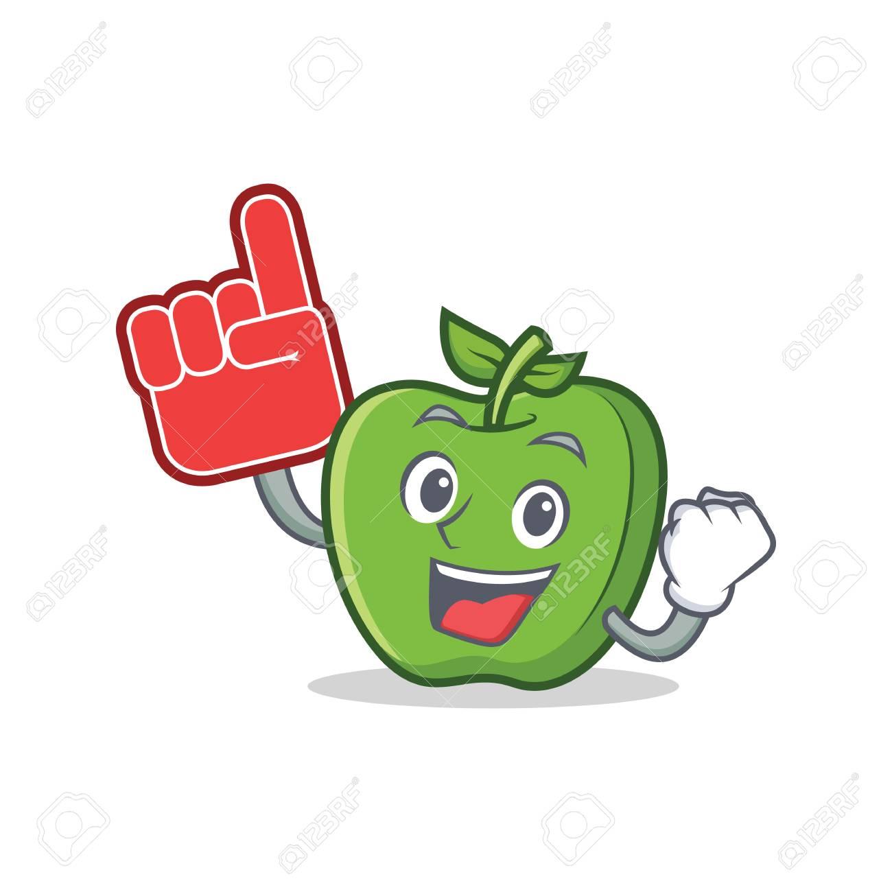 Foam finger green apple character cartoon vector illustration - 83544349