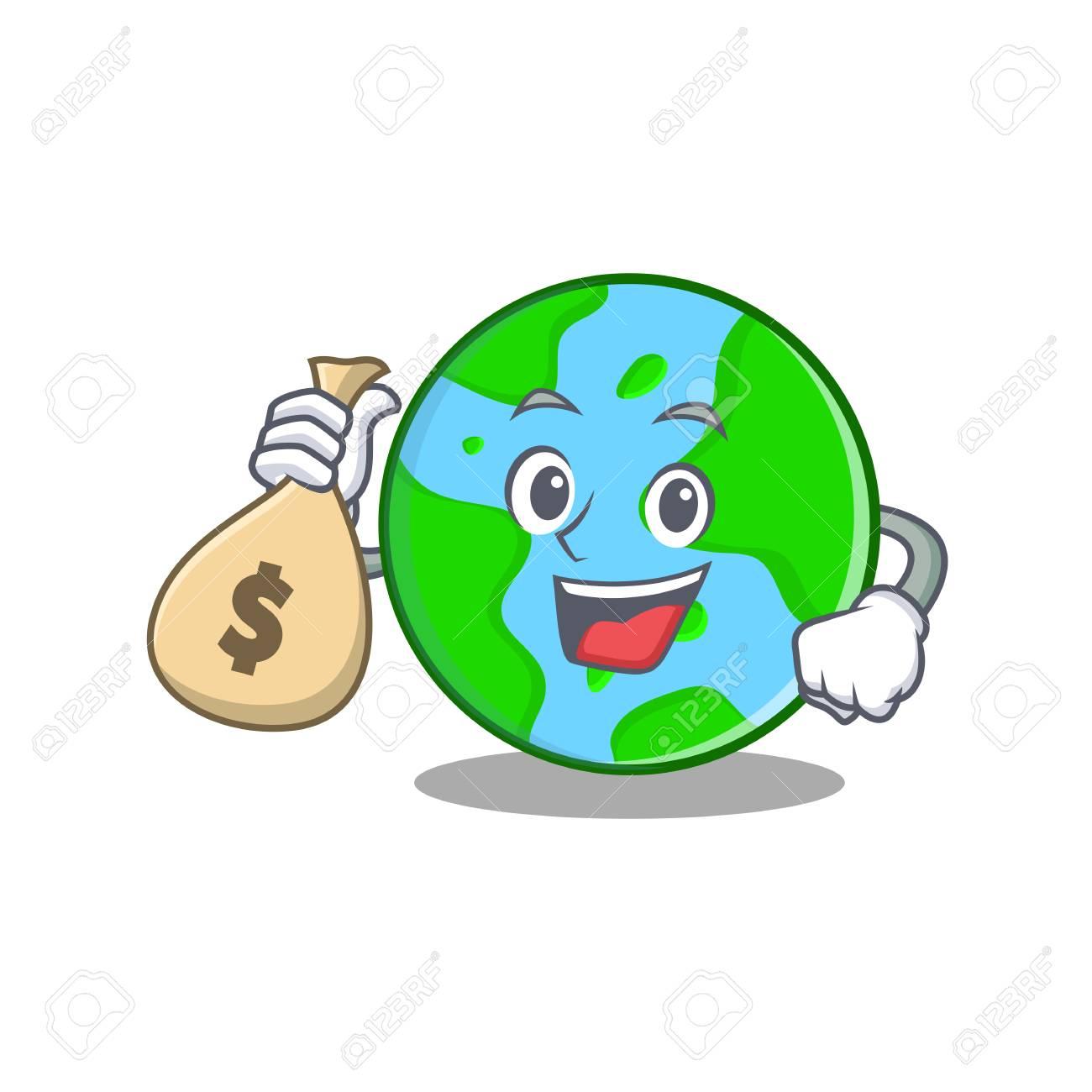 With Money Bag World Globe Character Cartoon Royalty Free Cliparts