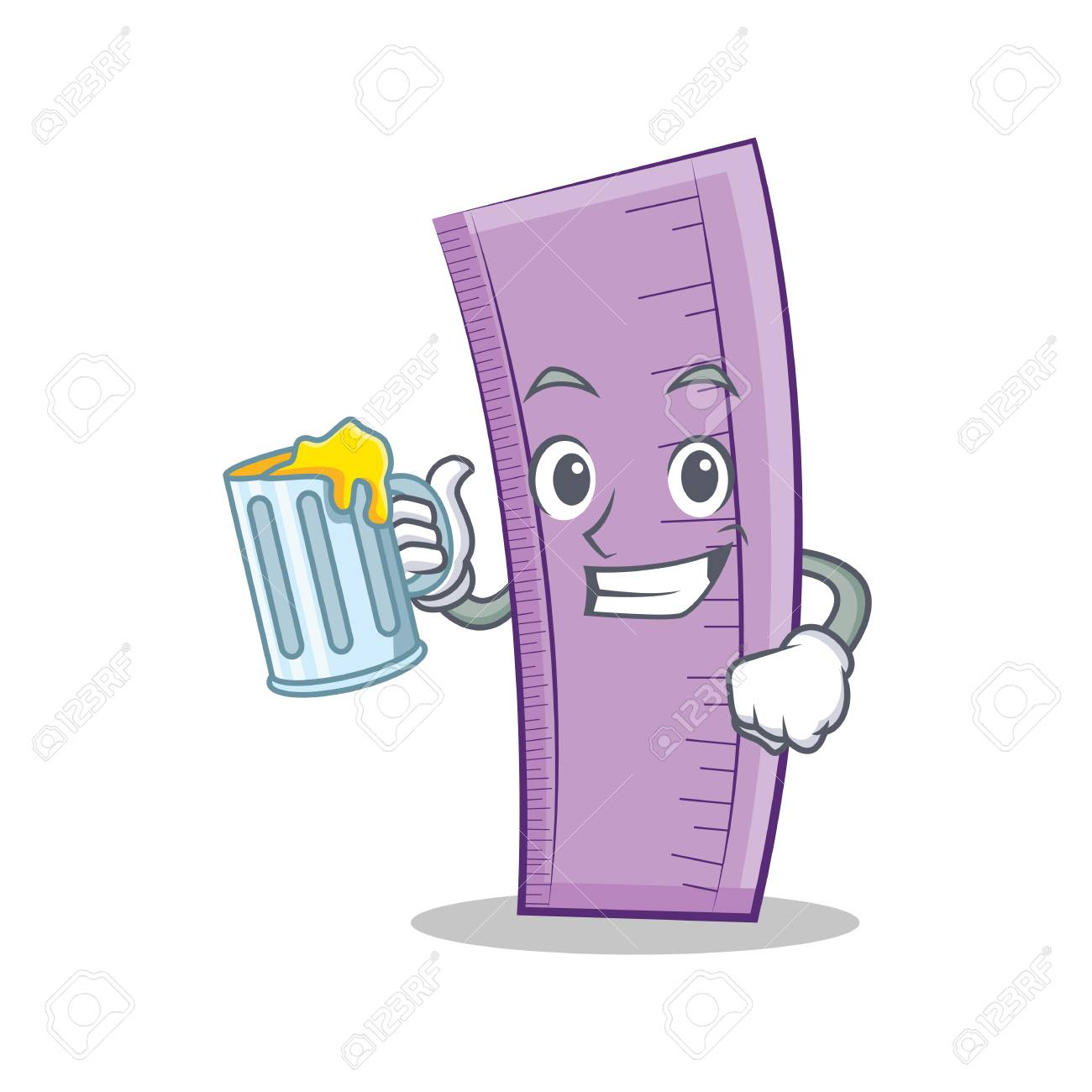 With juice ruler character cartoon style royalty free cliparts