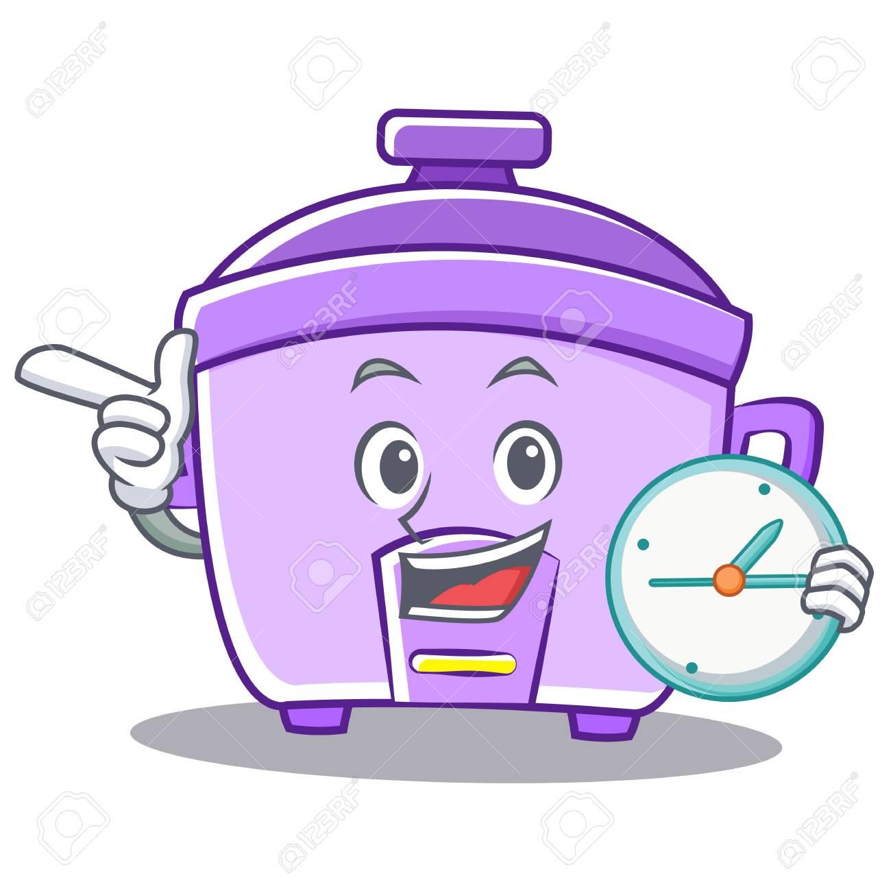 Con El Vector De Dibujos Animados De Caracter Reloj Arroz Cocina