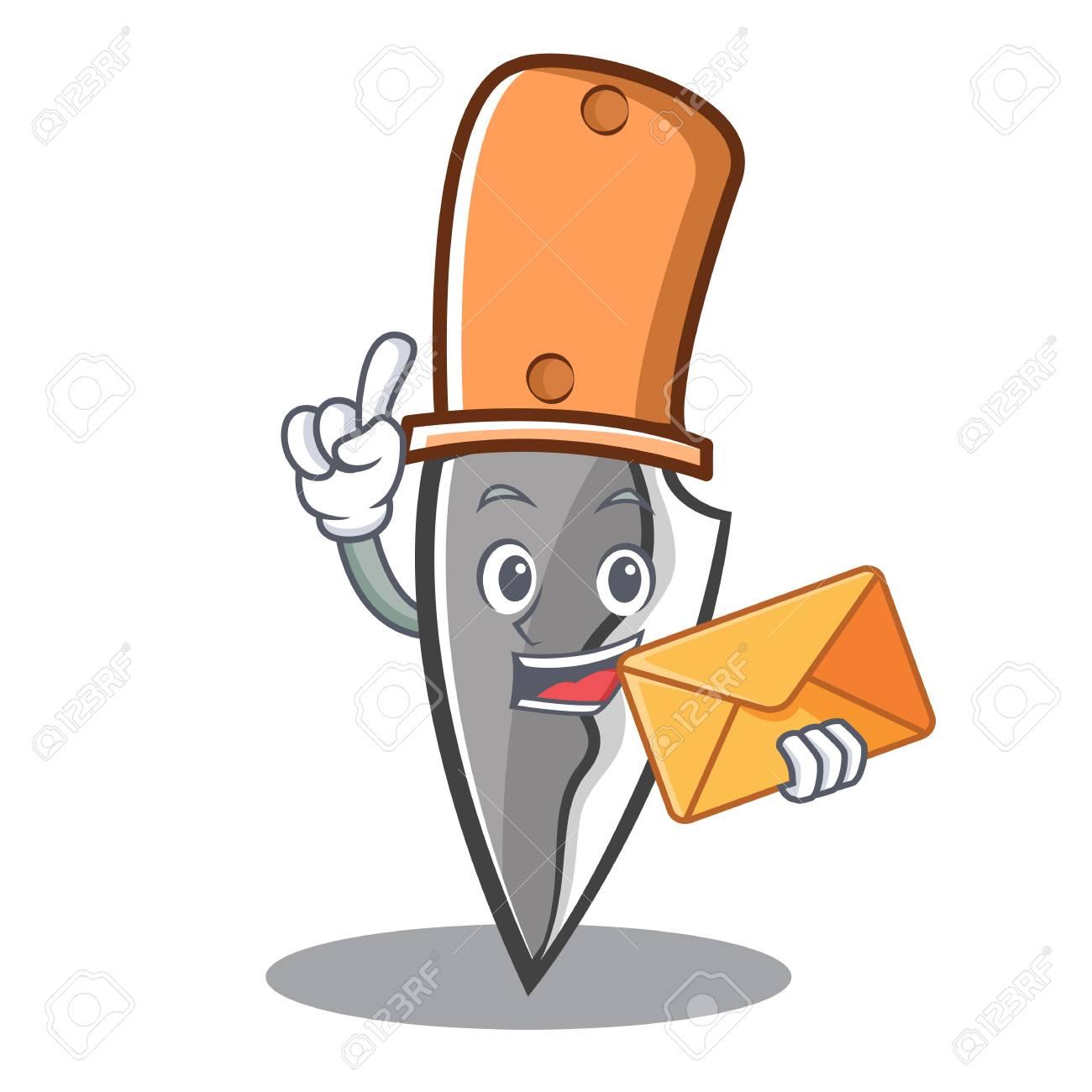 Dessin D Enveloppe avec le style de dessin animé de caractère couteau d'enveloppe clip